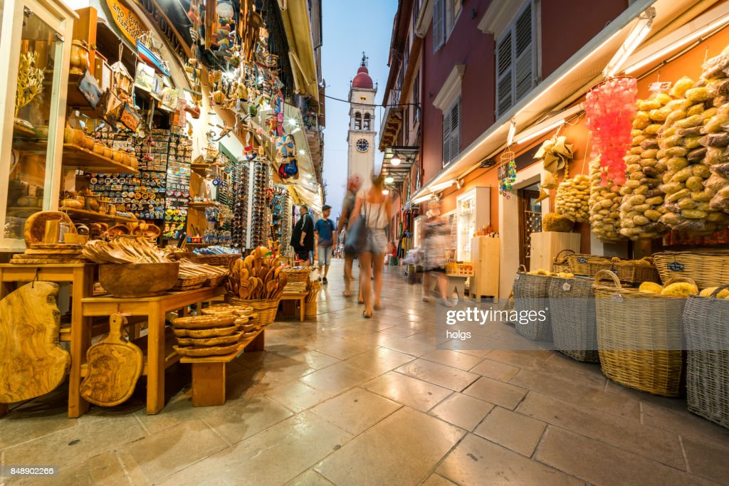 Corfu Old Town Streets by Night, Greece : Stock Photo