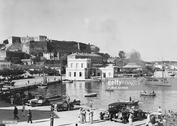 Corfu Town and harbour on the Greek island of Corfu circa 1935 The Neo Frourio or New Fortress is in the background