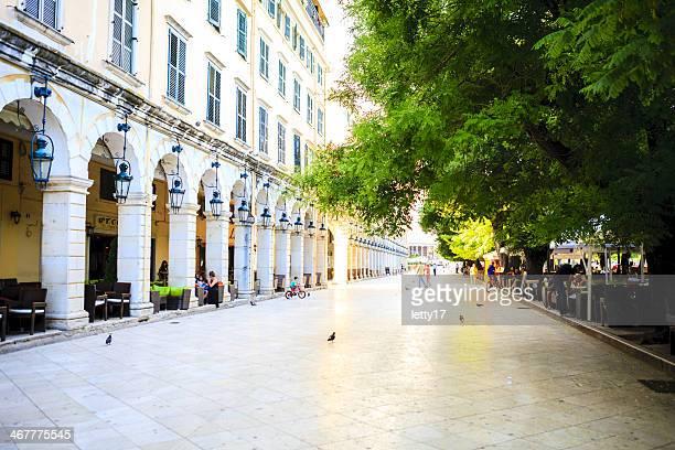 corfu town liston street - corfu stock pictures, royalty-free photos & images