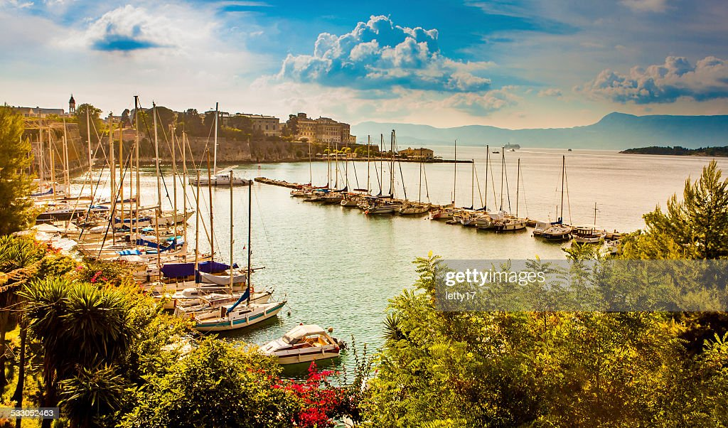 Corfu town marina : Stock Photo