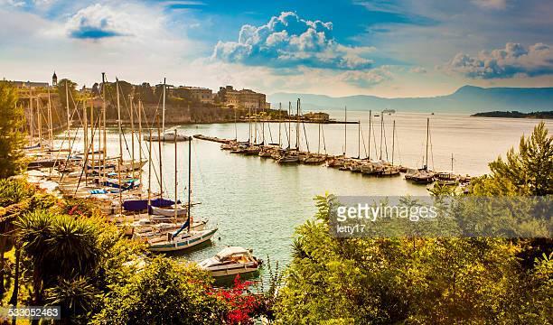 corfu town marina - corfu stock pictures, royalty-free photos & images