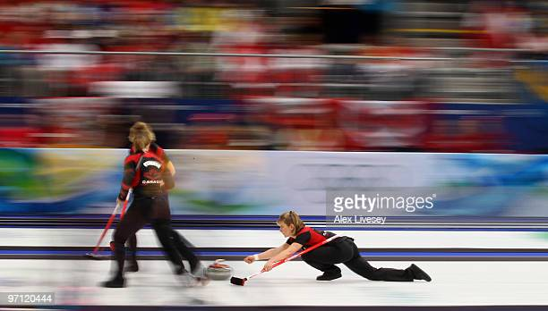 Cori Bartel of Canada releases a stone during the women's gold medal curling game between Canada and Sweden on day 15 of the Vancouver 2010 Winter...