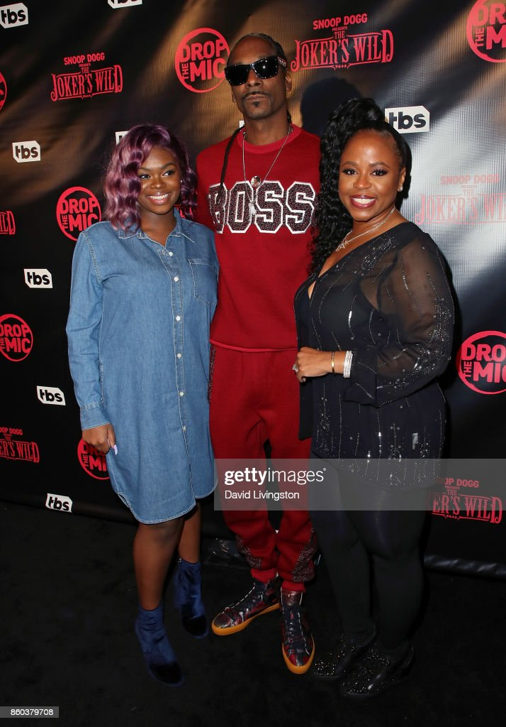 Cori Broadus, father rapper Snoop Dogg, and mother Shante Broadus attend the premiere for TBS's 'Drop The Mic' and 'The Joker's Wild' at The Highlight Room on October 11, 2017 in Los Angeles, California.