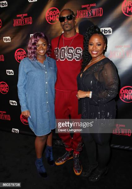Cori Broadus father rapper Snoop Dogg and mother Shante Broadus attend the premiere for TBS's Drop The Mic and The Joker's Wild at The Highlight Room...