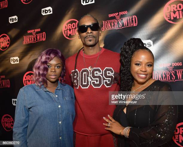 Cori Broadus host Snoop Dogg and Shante Broadus at TBS' Drop the Mic and The Joker's Wild Premiere Party at Dream Hotel on October 11 2017 in...
