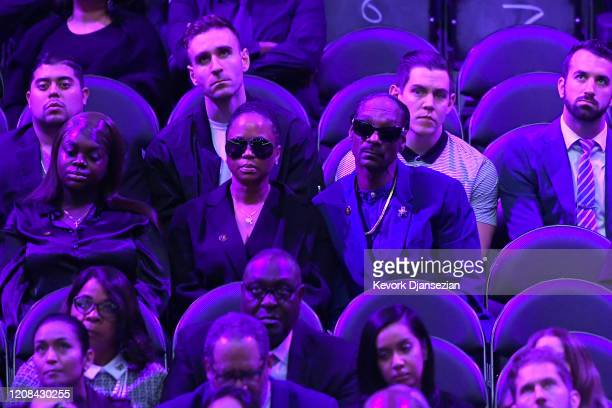 Cori Broadus Shante Broadus and Snoop Dogg attend The Celebration of Life for Kobe Gianna Bryant at Staples Center on February 24 2020 in Los Angeles...