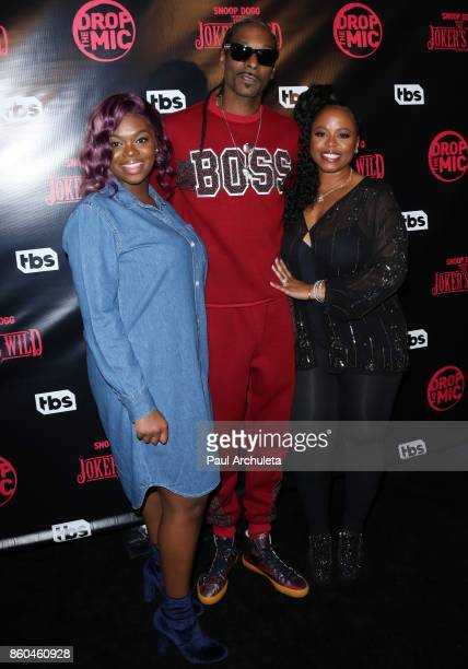 "Cori Broadus, Snoop Dogg and Shante Broadus attend the premiere for TBS's ""Drop The Mic"" and ""The Joker's Wild"" at The Highlight Room on October 11,..."