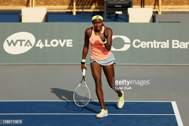 Cori Gauff celebrates after defeating Aryna Sabalenka of Belarus 76 46 64 during day three of the Top Seed Open at the Top Seed Tennis Club on August...