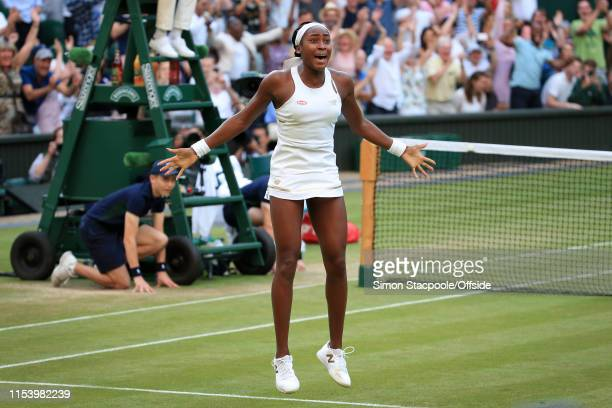 Cori Gauff celebrates victory over Polona Hercog in their Ladies' Singles 3rd Round match on Day 5 of The Championships Wimbledon 2019 at the All...