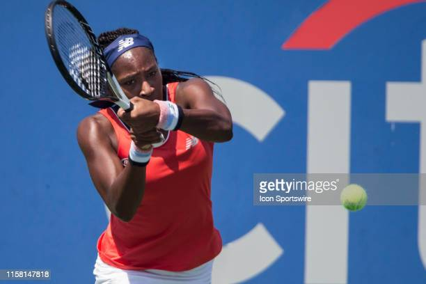 Cori Gauff in action during a Womens Singles qualifying round match against Maegan Manasse in the 2019 Citi Open, on July 27 at the Rock Creek Park...