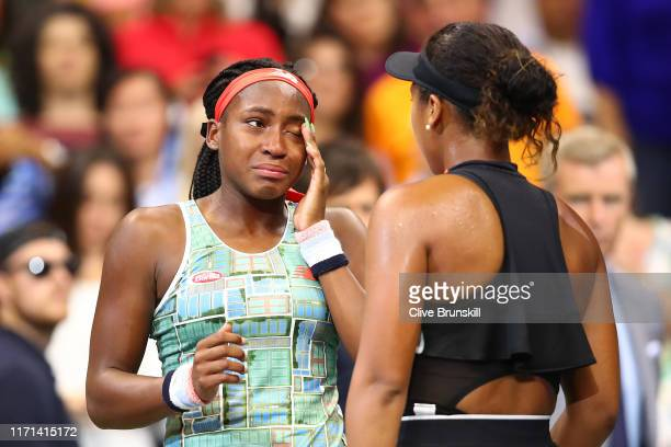 Cori Gauff of the United States and Naomi Osaka of Japan speak following their Women's Singles third round match on day six of the 2019 US Open at...