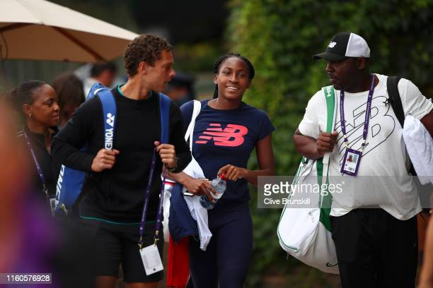 Cori Gauff of the United States arrives at Aorangi Park for a practice session during Middle Sunday of The Championships Wimbledon 2019 at All...