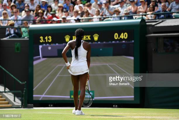 Cori Gauff of the United States awaits a decision from the line judge in her Ladies' Singles fourth round match against Simona Halep of Romania...