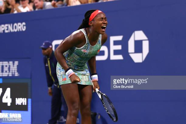 Cori Gauff of the United States celebrates after defeating Anastasia Potapova of Russia during their Women's Singles first round match on day two of...