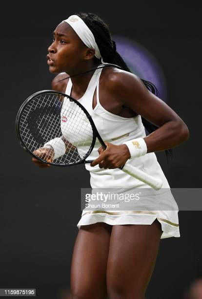 Cori Gauff of the United States celebrates match point in her Ladies' Singles second round match against Magdalena Rybarikova of Slovakia during Day...