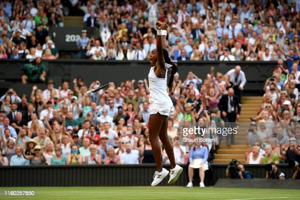 Cori Gauff of The United States celebrates match point in her Ladies' Singles third round match against Polona Hercog of Slovenia during Day five of...