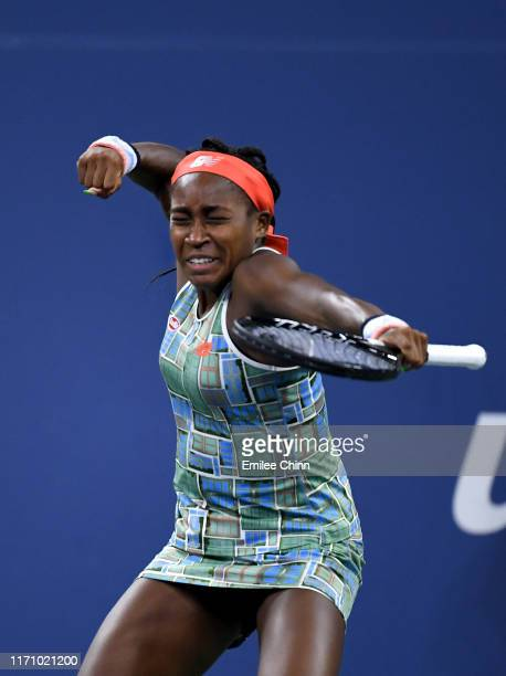 Cori Gauff of the United States celebrates victory during her Women's Singles second round match against Timea Babos of Hungary on day four of the...
