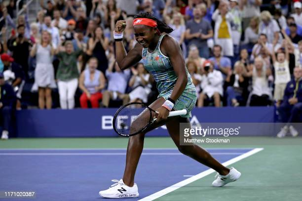 Cori Gauff of the United States celebrates victory following her Women's Singles second round match against Timea Babos of Hungary on day four of the...