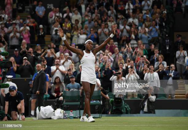 Cori Gauff of the United States celebrates victory in her Ladies' Singles second round match against Magdalena Rybarikova of Slovakia during Day...