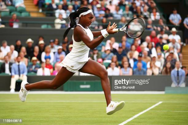 Cori Gauff of the United States plays a backhand in her Ladies' Singles first round match against Venus Williams of The United States during Day one...