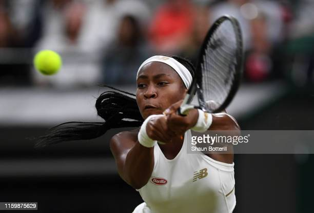 Cori Gauff of the United States plays a backhand in her Ladies' Singles second round match against Magdalena Rybarikova of Slovakia during Day three...