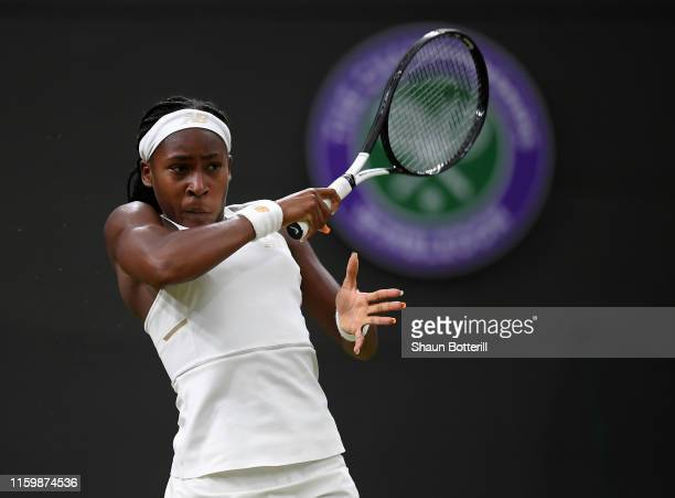 Cori Gauff of the United States plays a forehand in her Ladies' Singles second round match against Magdalena Rybarikova of Slovakia during Day three...