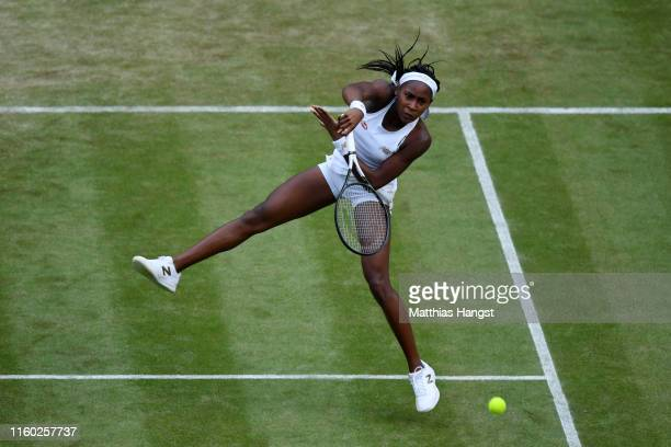 Cori Gauff of The United States plays a volley in her Ladies' Singles third round match against Polona Hercog of Slovenia during Day five of The...