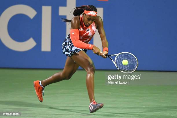 Cori Gauff of the United States returns a shot during a match against Victoria Azarenka of Belarus on Day 6 during the Womens Invitation of the Citi...