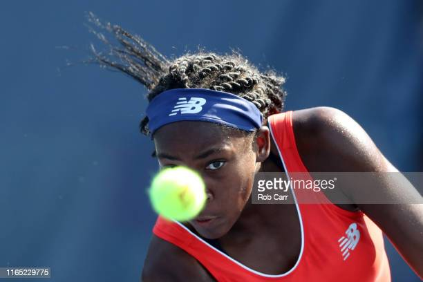 Cori Gauff of the United States returns a shot to Zarina Diyas of Kazakhstan during Day 2 of the Citi Open at Rock Creek Tennis Center on July 30...