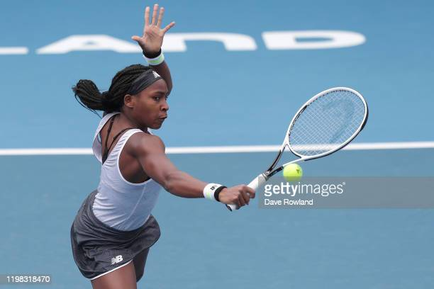 Cori Gauff of the USA during her match against Laura Siegemund of Germany during day four of the 2020 Women's ASB Classic at ASB Tennis Centre on...