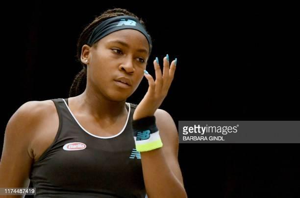 Cori Gauff of US reacts during the WTA-Upper Austria Ladies tennis match against Stefanie Voegele of Switzerland on October 8, 2019 in Linz, Austria....