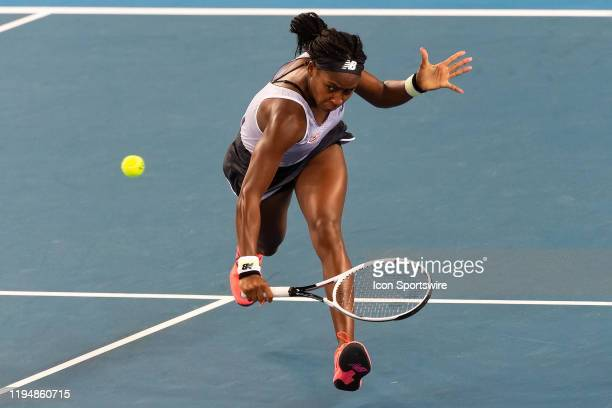 Cori Gauff of USA hits a volley during round one of the Australian Open Tennis at Melbourne Park Tennis Centre on January 20, 2020 in Melbourne,...