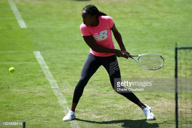 Cori Gauff of USA in action during a practice session during day 2 of the Viking International Eastbourne at Devonshire Park on June 20, 2021 in...