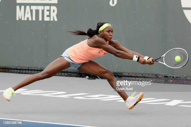 Cori Gauff plays a backhand during her match against Caroline Dolehide during Top Seed Open - Day 2 at the Top Seed Tennis Club on August 11, 2020 in...
