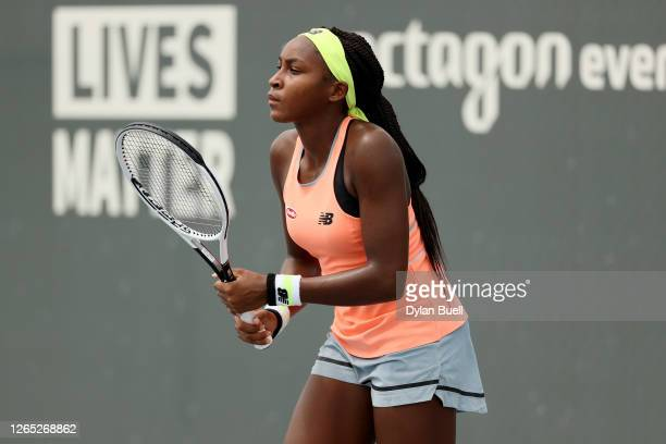 Cori Gauff prepares to receive a serve during her match against Caroline Dolehide during Top Seed Open Day 2 at the Top Seed Tennis Club on August 11...