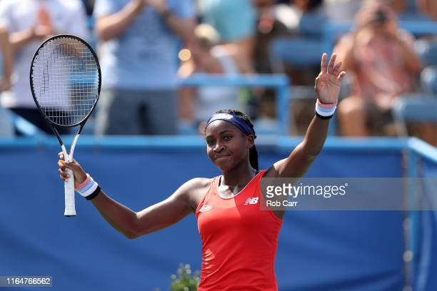 Cori Gauff waves to the crowd after defeating Hiroko Kuwata of Japan during qualifying for the Citi Open at Rock Creek Tennis Center on July 28 2019...