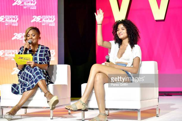 Cori Murray and Indya Moore speak on stage at 2019 ESSENCE Festival Presented By CocaCola at Ernest N Morial Convention Center on July 05 2019 in New...