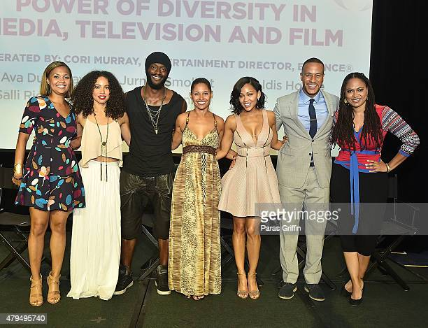 Cori Murray Jurnee Smollett Aldis Hodge Salli RichardsonWhitfield Meagan Good DeVon Franklin and Ava DuVernay attend 'Power Of Diversity In Media...