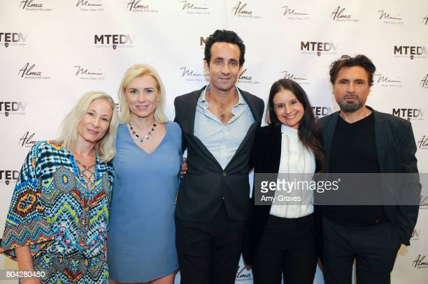 Corie Miller Megan O'Brien Dr Marc Mani Natasha Philippides and Alex Casalino attend A Night Out a fundraising event benefiting #MoveToEndDV hosted...