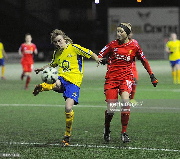 Corina Schroder of Liverpool competes with Ashleigh Mills of Doncaster Rovers Ladies during a Pre Season friendly match between Liverpool Ladies and...