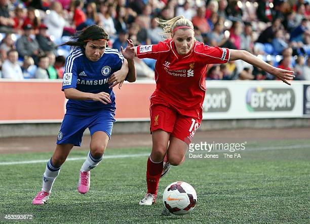 Corina Schroder of Liverpool Ladies is challenged by Ana Borges of Chelsea Ladies during the WSL match between Liverpool Ladies and Chelsea Ladies on...
