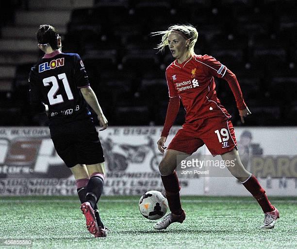 Corina Schroder of Liverpool turns Maja Krantz during the UEFA Womens Champions League last 32 fixture between Liverpool Ladies and Linkopings FC...