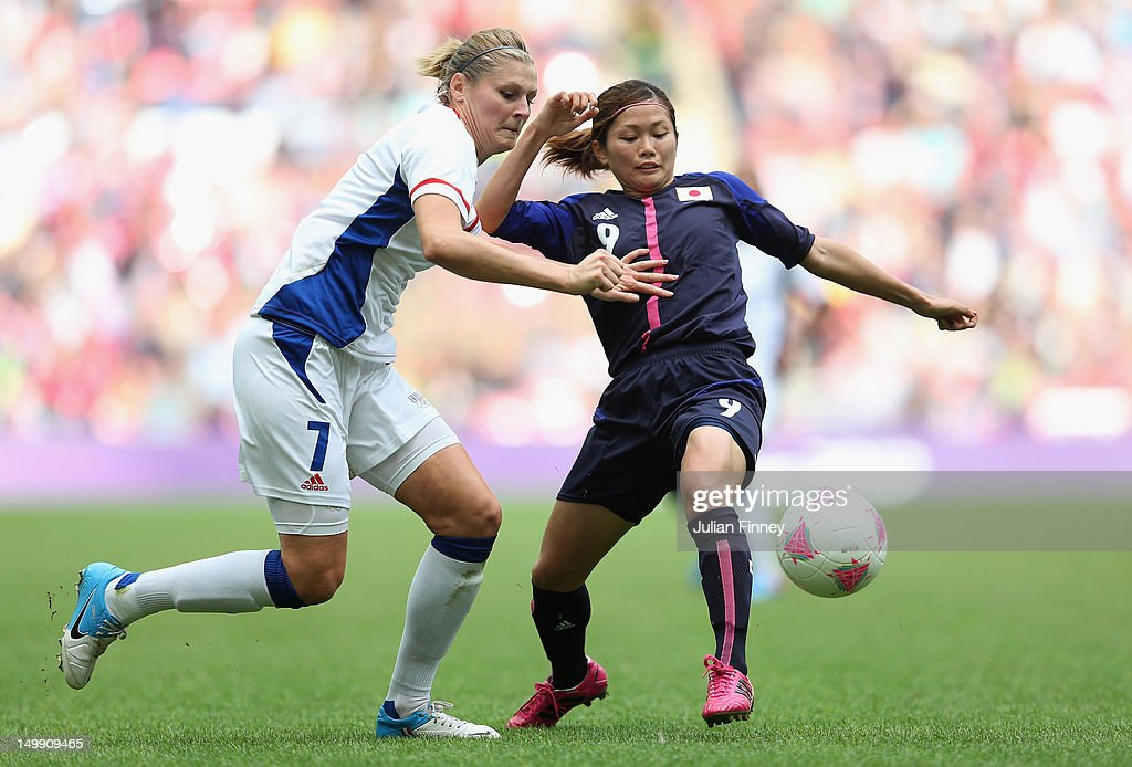 Corine Franco of France battles with Nahomi Kawasumi of Japan during the Women's Football Semi Final match between France and Japan on Day 10 of the London 2012 Olympic Games at Wembley Stadium on August 6, 2012 in London, England.