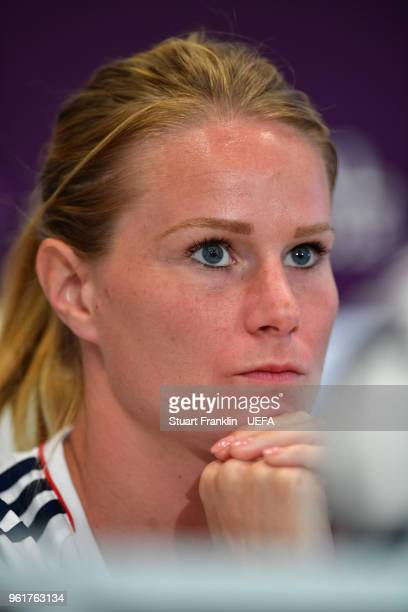 Corine Petit of Lyon looks on during a press conference prior to the UEFA Womens Champions League Final between VfL Wolfsburg and Olympique Lyonnais...