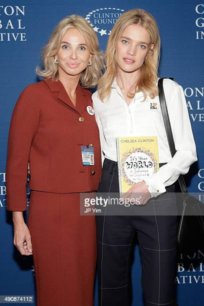 Corinna SaynWittgenstein Strategic Advisor at CGI and philanthropist and model Natalia Vodianova pose for a photograph before the closing session at...
