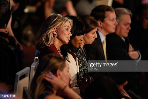 Corinna SaynWittgenstein Strategic Advisor at CGI listens to the closing session of the Clinton Global Initiative 2015 on September 29 2015 in New...
