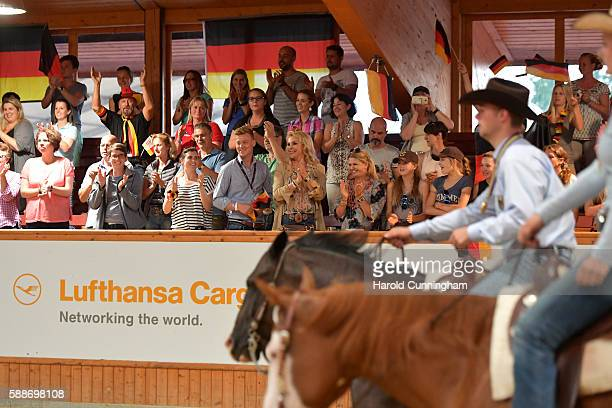 Corinna Schumacher attends the SVAG FEI European Championship Reining Young riders 2016 at the CS Ranch on August 12 2016 in Givrins Switzerland