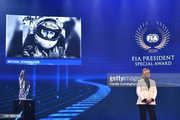 Corinna Schumacher collects the FIA President Special Award on behalf of her husband Michael Schumacher during the 2020 FIA Prize Giving on December...