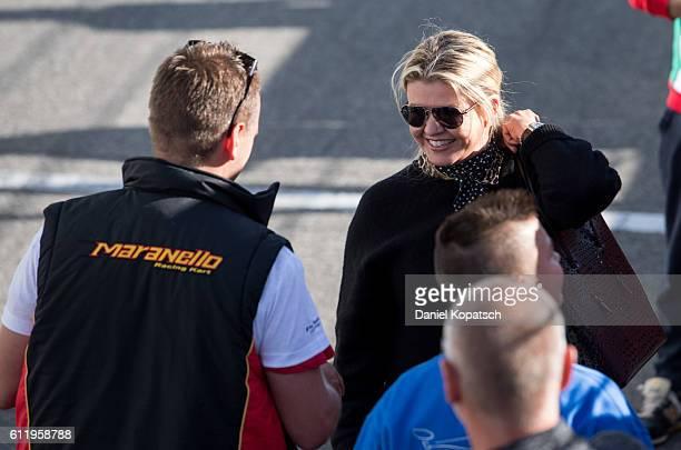 Corinna Schumacher reacts after the third race during ADAC Formula 4 at Hockenheimring on October 2 2016 in Hockenheim Germany