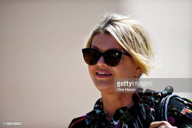 Corinna Schumacher walks in the Paddock before practice for the F1 Grand Prix of Bahrain at Bahrain International Circuit on March 29, 2019 in...